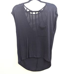 KATIE K black active tee with open back size small